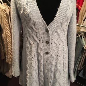 Free People Powder Blue Button Down Sweater